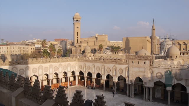 exterior shots high shots wide shots alazhar mosque buildings on february 2 2016 in cairo egypt - extremism stock videos & royalty-free footage