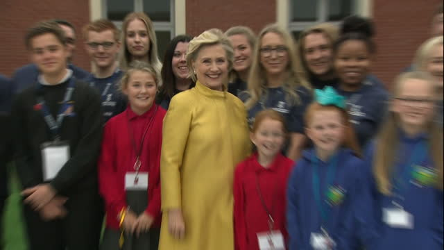 Exterior shots Hillary Clinton 2016 American Presidential Candidate exits Swansea University after being presented with an Honorary Doctorate of Law...