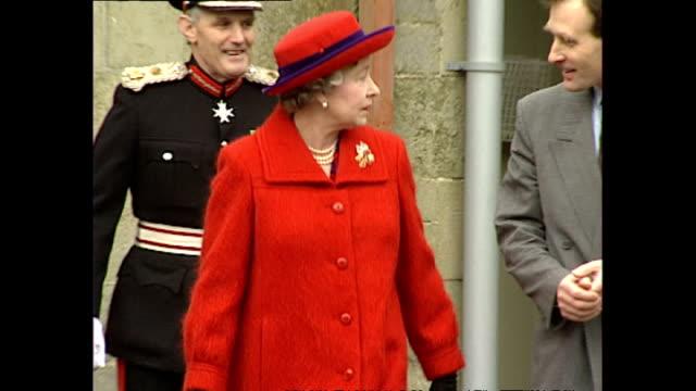 Exterior shots HM Queen Elizabeth II Prince Philip Duke of Edinburgh young Zara Phillips and Peter Phillips grandchildren leaving Port Regis School...
