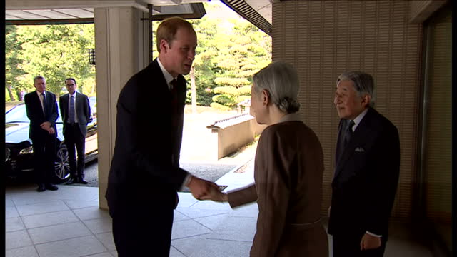 exterior shots hrh prince william duke of cambridge arriving at tokyo imperial palace and being welcomed by japanease emperor akihito and empress... - emperor akihito stock videos and b-roll footage