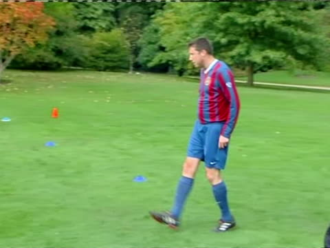 Exterior shots HRH Prince William Duke of Cambridge in football training with the Royal Household football team A football match was held between...