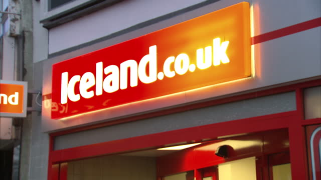 exterior shots iceland store high street supermarket shopping iceland on february 12 2013 in london england - iceland stock videos & royalty-free footage