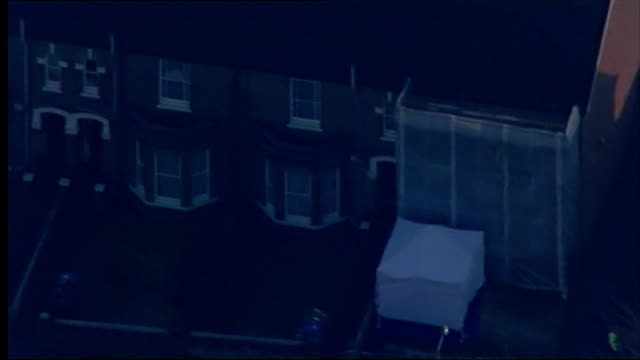 exterior shots incident tent erected outside suspect steve wright's house along with plastic sheeting covering front and rear entrances on december... - throttle stock videos & royalty-free footage