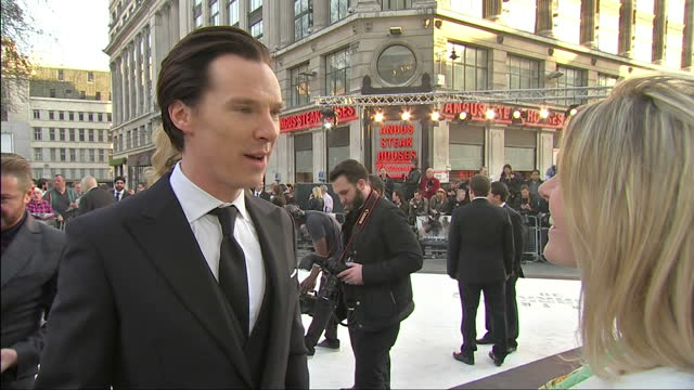 exterior shots interview with actor benedict cumberbatch on working in the new star trek film. london premiere of star trek in to darkness on may 03,... - benedict cumberbatch stock videos & royalty-free footage