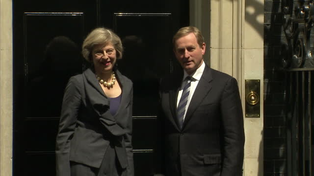 Exterior shots Irish Taoiseach Enda Kenny arrives outside Downing Street and is greeted by Theresa May British Prime Minister on July 26 2016 in...