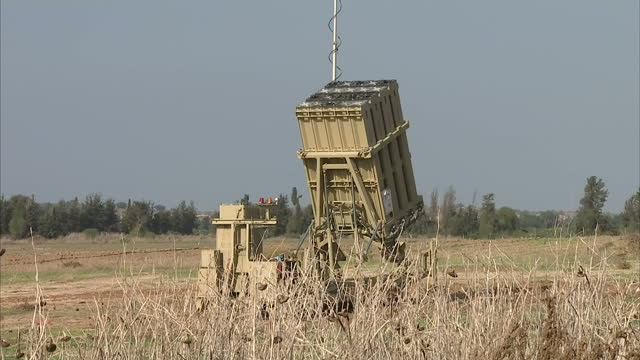 Exterior shots Iron Dome missile battery defence system placed in field Ceasefire Hopeful Between Hamas Israel over Gaza Conflict on November 20 2012...