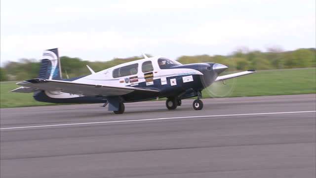 exterior shots jack wiegand taxiing his mooney ovation2 gx plane. jack wiegand taxiing plane on may 11, 2013 in biggin hill, england - biggin hill stock videos & royalty-free footage