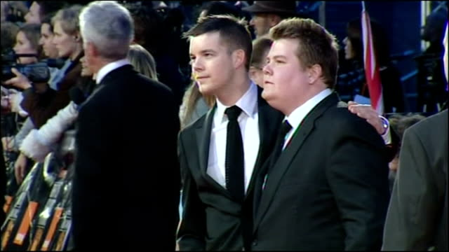 Exterior shots James Cordon actor now host of The Late Late Show on BAFTA red carpet with Russell Tovey posing for photographers on February 11 2007...