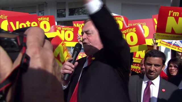 exterior shots john prescott campaigning for no to independence john prescott punching protester after being egged internal interview douglas... - vox populi stock videos and b-roll footage
