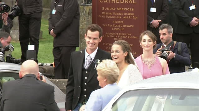 exterior shots kim sears and andy murray depart dunblane cathedral as man and wife on april 11, 2015 in dunblane, scotland. - dunblane stock videos & royalty-free footage