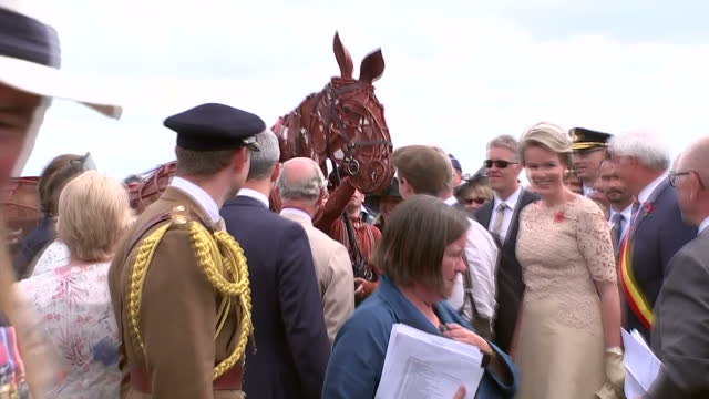 vídeos de stock e filmes b-roll de exterior shots king philippe of belgium and prince charles prince of wales with war horse during their visit to exhibition field at the passchendaele... - centenário