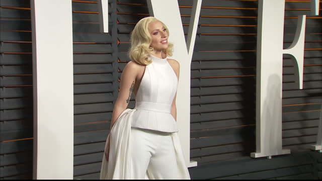 Exterior shots Lady Gaga singer on Vanity Fair red carpet posing for photographers on February 28 2016 in Hollywood California