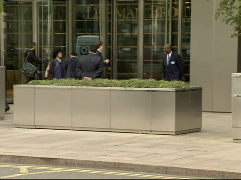 Exterior shots Lehman Brothers building in London staff coming and going Lehman Brothers File for Bankruptcy at The City on September 15 2008 in...