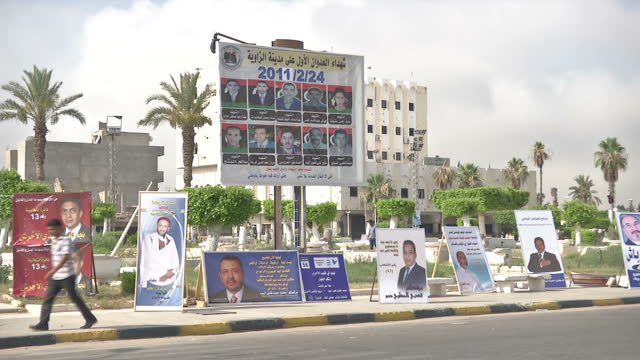 exterior shots libya streets and election posters on july 03 2012 in az zawiyah libya - az zawiyah stock videos & royalty-free footage