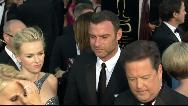 Exterior shots Liev Schreiber Naomi Watts on the red carpet Liev Schreiber Naomi Watts at Dolby Theatre on February 25 2013 in Hollywood California