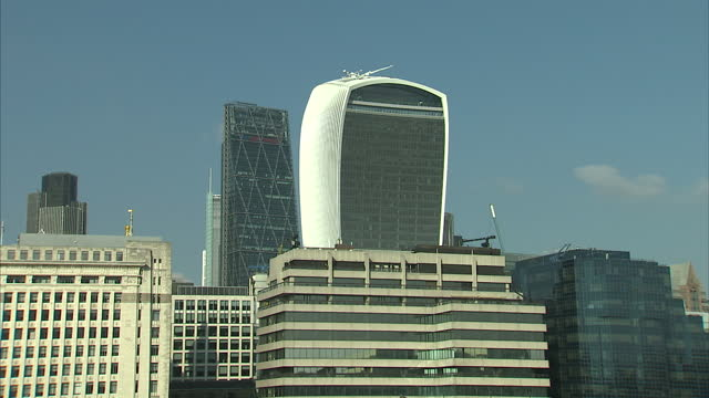 exterior shots london city financial district the walkie talkie building on october 04 2016 in london england - pound sterling symbol stock videos & royalty-free footage