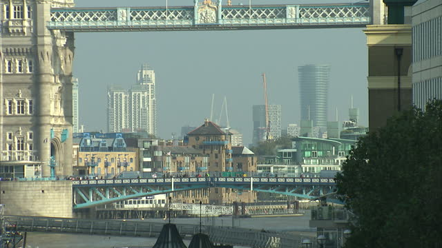 exterior shots london city financial district views along river thames showing tower bridge the walkie talkie building on october 04 2016 in london... - pound sterling symbol stock videos & royalty-free footage