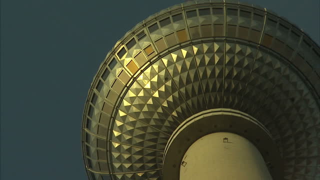 Exterior shots looking up at the Berliner Fernsehtur from the base of the tower November 09 2017 in Berlin Germany