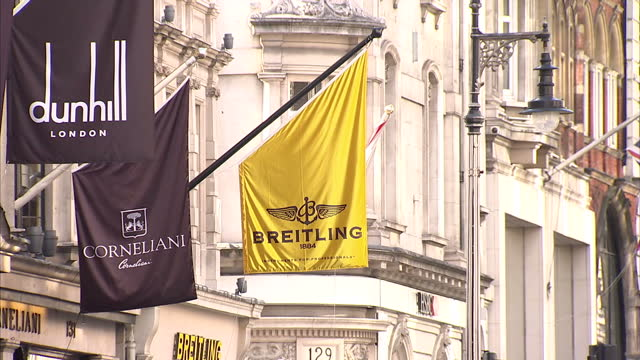 exterior shots luxury watch stores iwc, dunhill, breitling in bond street, luxury watches at window display on september 08, 2015 in london, england. - wrist watch stock videos & royalty-free footage