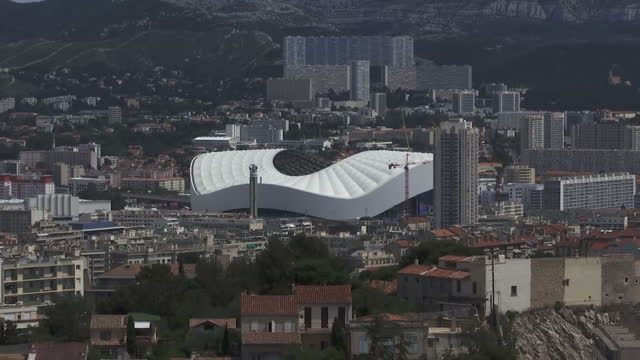 Exterior shots Marseille city skyline with Stade Velodrome football stadium home to Olympique de Marseille on edge of city on June 12 2016 in...