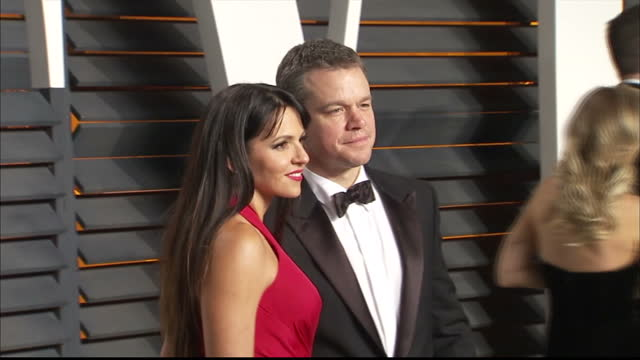 exterior shots matt damon actor and wife luciana barroso on vanity fair red carpet on february 28 2016 in hollywood california - matt damon stock videos and b-roll footage