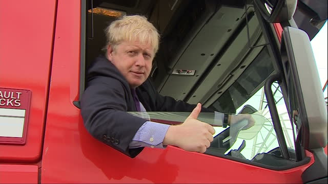 Exterior shots Mayor of London Boris Johnson The chief campaigner for Vote Leave at Vote Leave Campaign Event Boris Johnson climbs onto Europa lorry...
