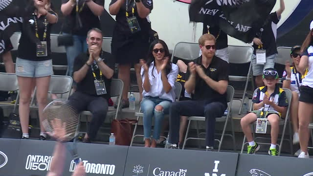 exterior shots meghan markle and hrh prince harry attend wheelchair tennis on day 3 of the invictus games toronto 2017 on september 25, 2017 in... - 2017 stock videos & royalty-free footage