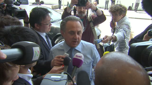 exterior shots michel platini, uefa president arriving, exterior shots russian sport minister and uefa member vitaliy mutko arriving to attend uefa... - 2015 stock videos & royalty-free footage