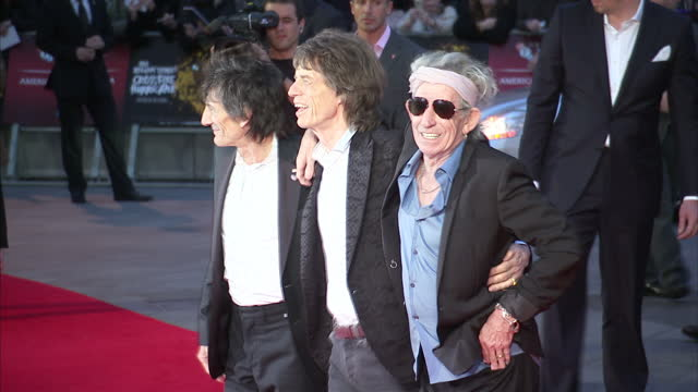 exterior shots mick jagger, ronnie wood, keith richards & charlie watts poses on the red carpet at the premiere of their documentary film crossfire... - documentary film stock videos & royalty-free footage