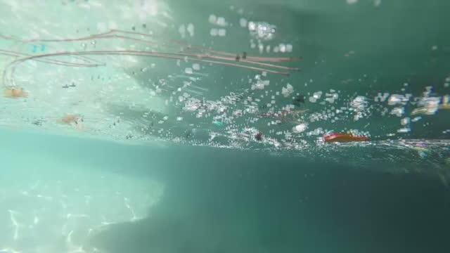 Exterior shots microplastics floating in sea along Bermuda coastline on July 26 2016 in Hamilton Bermuda