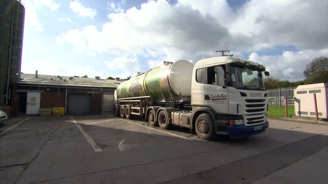 exterior shots milk lorry arriving at dairy factory interior shots driver opening lorry and connecting tube in lorry container to feed milk to... - dairy factory stock videos & royalty-free footage