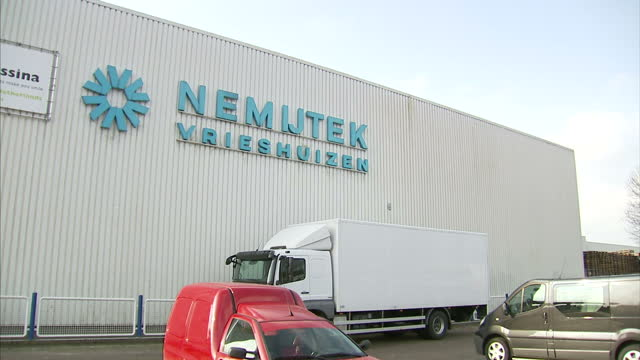 Exterior shots Nemijtek cold storage facility in Breda including fork lifts being driven around Nemijtek Cold Storage Facility in Breda on February...