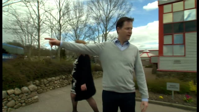 exterior shots nick clegg deputy prime minister leader of liberal democratic party campaigning in gordon on april 17 2015 in gordon scotland - general election stock videos & royalty-free footage