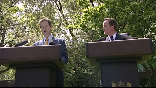 vídeos de stock, filmes e b-roll de exterior shots nick clegg speech then david cameron and nick clegg question and answer session with pree for me that is what liberalism is all about... - 2010