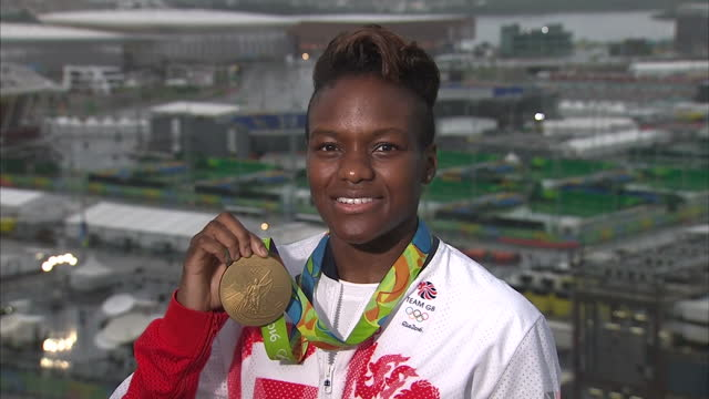 exterior shots nicola adams team gb boxer posing with her rio 2016 gold medal on august 21 2016 in rio de janeiro brazil - gold medal stock videos & royalty-free footage