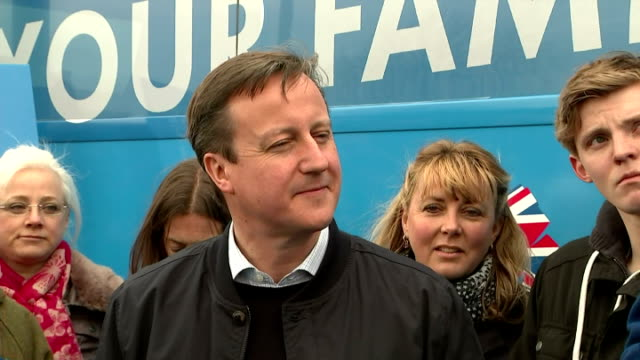 exterior shots nicola blackwood speaks to local conservative party supporters as david cameron looks on on april 04 2015 in witney england - british liberal democratic party stock videos & royalty-free footage