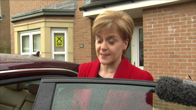 """exterior shots nicola sturgeon departs home, gives reaction to snp winning scottish seats """"i'm absolutely delighted, fantastic result for snp &... - nicola sturgeon stock videos & royalty-free footage"""