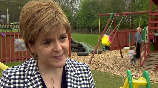 exterior shots nicola sturgeon first minister of scotland interview grab campaigning for the snp in the general election vote in north east scotland... - barnomsorg bildbanksvideor och videomaterial från bakom kulisserna