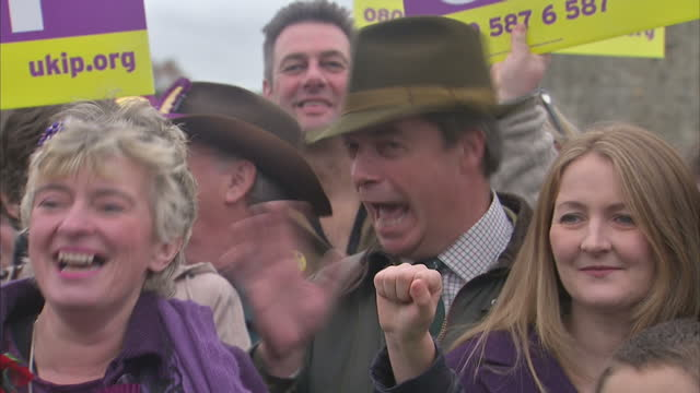 exterior shots nigel farage and mark reckless at ukip cmpaign event in rochester - 2014 stock-videos und b-roll-filmmaterial