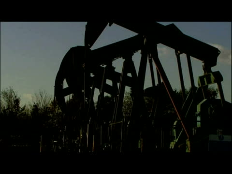 exterior shots nodding donkeys in oil field. exterior shots oil refinery. exterior shots crude oil being poured - hooved animal stock videos & royalty-free footage