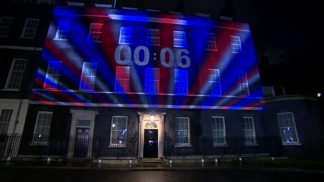 exterior shots of 10 downing street with a countdown clock and union jack stripes projected onto it as 11pm brexit deadline passes on 31 january 2020... - striped stock videos & royalty-free footage