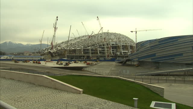 exterior shots of 2014 winter olympics sochi site under construction in russia sochi 2014 winter olympics construction site on august 09 2013 in... - bobsleighing stock videos & royalty-free footage