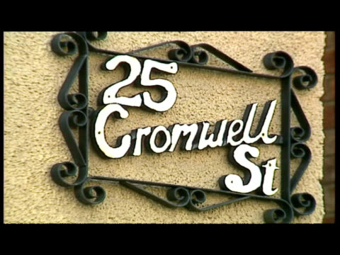 exterior shots of 25 Cromwell Street where Fred Rose West lived Exterior shots of police officer laying flowers outside Exterior aerial shots of...