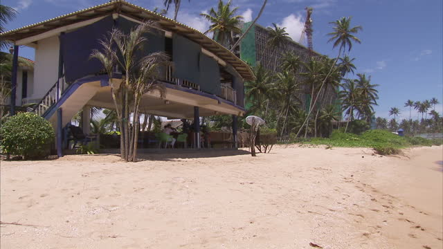 Exterior shots of a beach bar and beachfront area of the Neptune Resort in Weligma Bay on December 26 2014 in Galle Sri Lanka