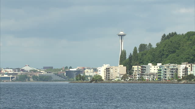vídeos de stock e filmes b-roll de exterior shots of a beach in seattle with families relaxing on a sunny day and the city's iconic space needle tower on may 17 2015 in seattle... - space needle