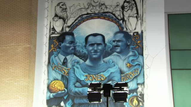 exterior shots of a chelsea fc anti-semitism mural outside stamford bridge to commemorate holocaust remembrance day shot on januray 15th 2020 - international holocaust remembrance day stock videos & royalty-free footage