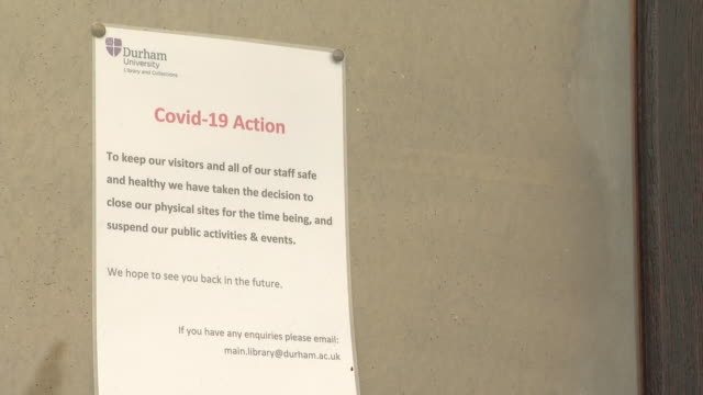 exterior shots of a closed durham cathedral due to the coronavirus outbreak and a notice declaring the same on the door on easter sunday on 12 april... - county durham england stock videos & royalty-free footage