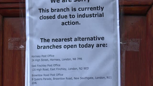 exterior shots of a closed post office branch with strike action sign on the front door on december 19, 2016 in muswell hill, london, united kingdom. - strike industrial action stock videos & royalty-free footage
