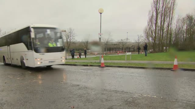 exterior shots of a convoy of coaches ambulences and police cars arriving at kent hill park conference centre whcih has been repurposed as a... - nationals park stock videos & royalty-free footage