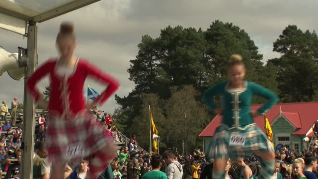 exterior shots of a display of traditional highland dancing at the braemar games on 7 september 2019 in braemar, scotland - scottish highlands stock videos & royalty-free footage